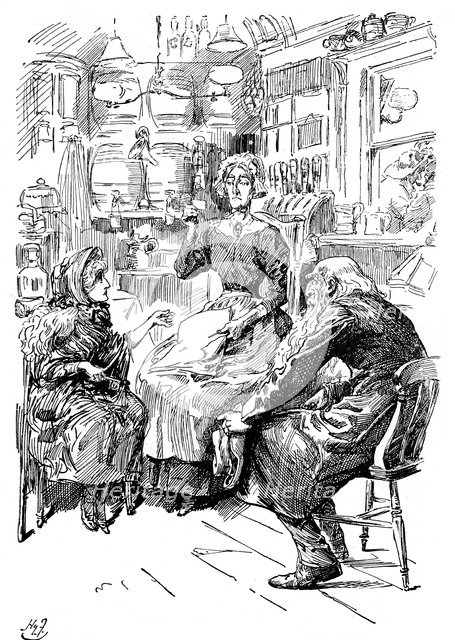 Mr Riah and Miss Wren at the Six Jolly Fellowship Porters, 1912. Artist: Harry Furniss