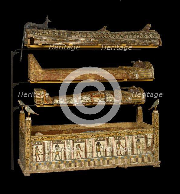 Djeddjehutefankh, complete mummy in inner coffin, Third Intermediate Period, (c1070 BC-715 BC). Artist: Unknown.