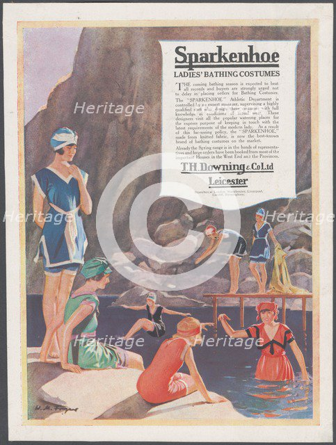 Sparkenhoe bathing costume, c.1920s. Artist: Wilfred Fryer
