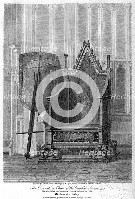 The coronation chair of the English sovereigns, Westminster Abbey, London, 1810.Artist: John Roffe