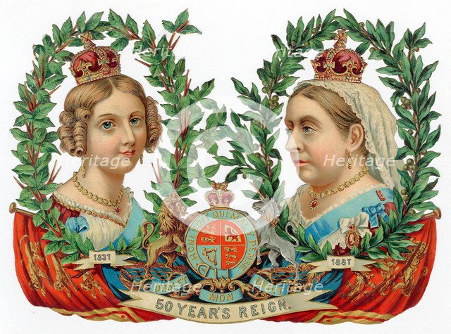 Souvenir for Queen Victoria's Golden Jubilee, 1887. Artist: Unknown