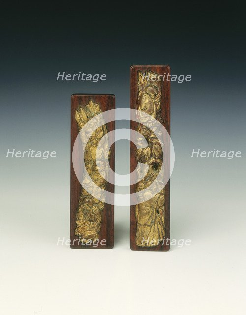 Pair of gilt pewter scroll weights, Late Ming dynasty, China, 17th century. Artist: Unknown