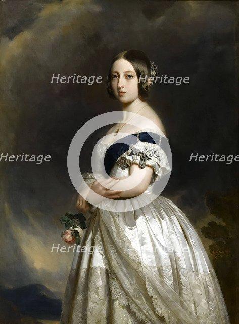 Portrait of Queen Victoria. Artist: Winterhalter, Franz Xavier (1805-1873)