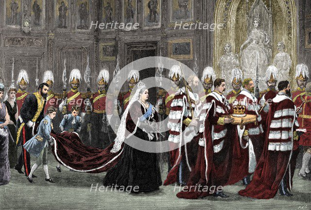 The royal procession in Westminster Palace on the way to the House of Lords, 1886, (1900). Artist: Unknown.