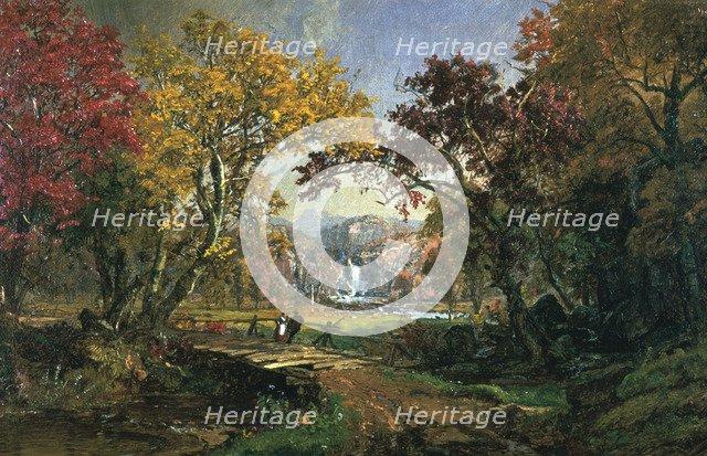 'Couple on a Bridge', 1876 Artist: Jasper Francis Cropsey
