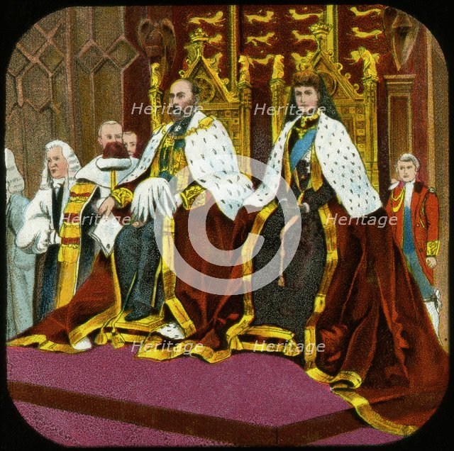 King Edward VII and Queen Alexandra, State Opening of Parliament, Westminster, c1902-1909. Artist: Unknown