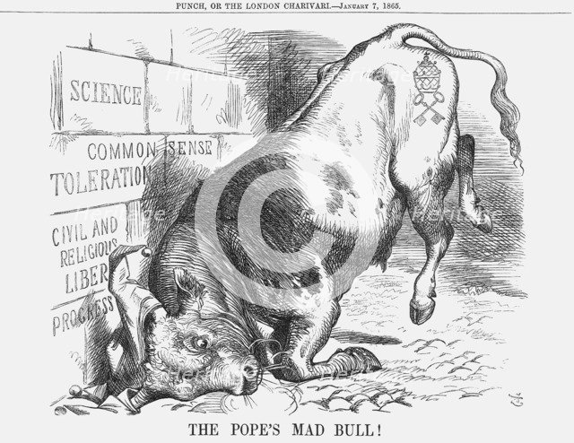 'The Pope's Mad Bull', 1865. Artist: John Tenniel