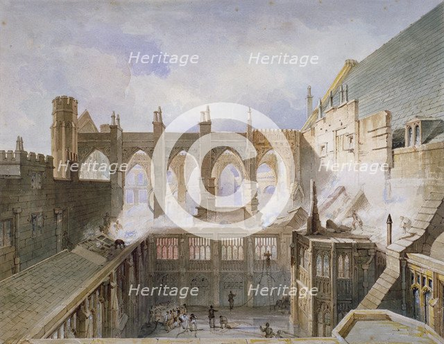 View of the destruction of St Stephen's Chapel, Palace of Westminster, London, 1834 Artist: John Taylor