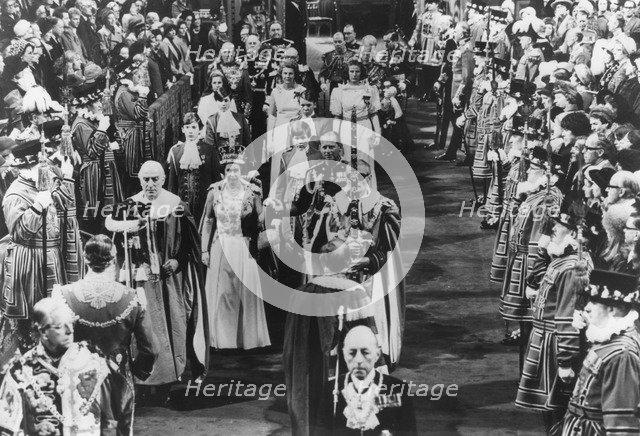 The ceremonial state opening of Parliament by Queen Elizabeth II, 3rd November 1977. Artist: Unknown