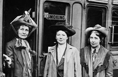 Thumbnail image of Emmeline, Christabel and Sylvia Pankhurst, Waterloo Station, London, 1911. Artist: Unknown
