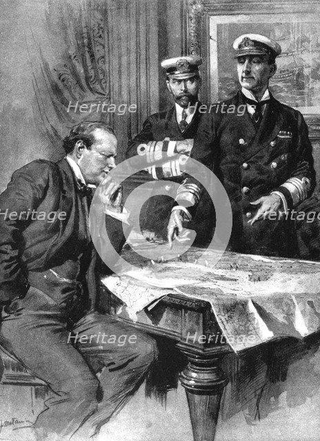 Winston Churchill, Charles Madden and Sir John Jellicoe, First World War, 1914. Artist: Unknown