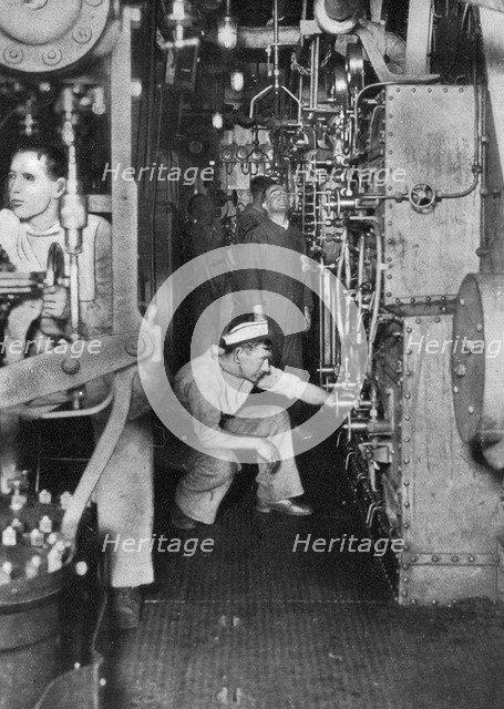 A warship's boiler room, First World War, 1914-1918, (c1920). Artist: Unknown