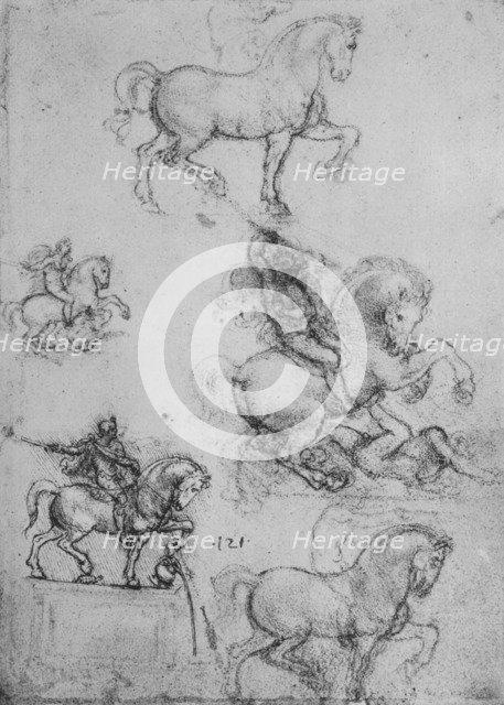 'Five Studies of Horses and Riders', c1480 (1945). Artist: Leonardo da Vinci.
