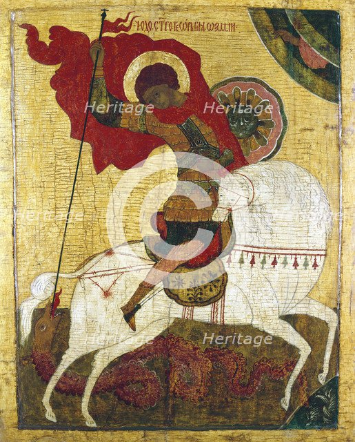'St George Killing the Dragon', Russian icon. Artist: Unknown