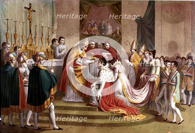 Pius VII crowns Napoleon as emperor in Notre Dame in 1804.