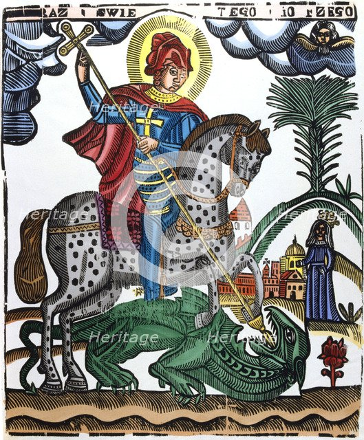 St George, mounted on a spotted horse, killing the dragon, 19th century. Artist: Anon