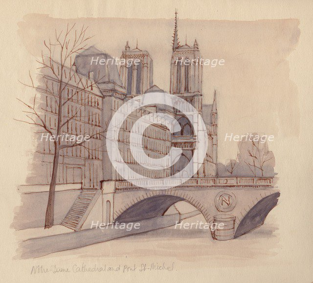 'Notre Dame Cathedral and Pont St-Michel', 1951. Creator: Shirley Markham.