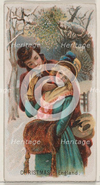 Christmas, England, from the Holidays series (N80) for Duke brand cigarettes, 1890., 1890. Creator: George S. Harris & Sons.