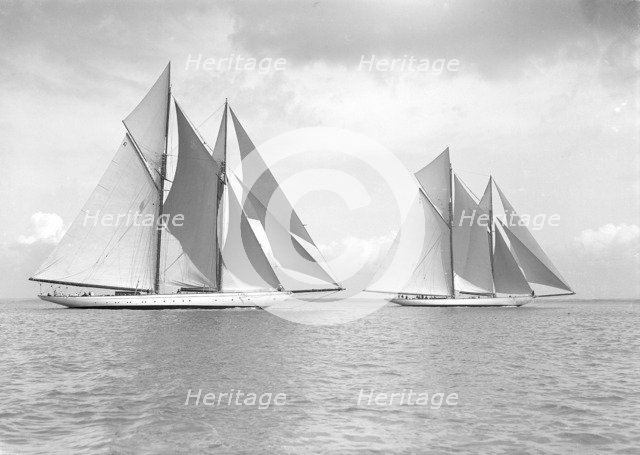 The magnificent schooners 'Germania' and 'Waterwitch', 1911. Creator: Kirk & Sons of Cowes.