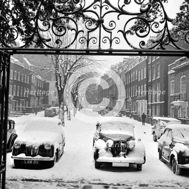 Snow-covered cars, Church Row, Hampstead, London, 1960-1965. Artist: John Gay