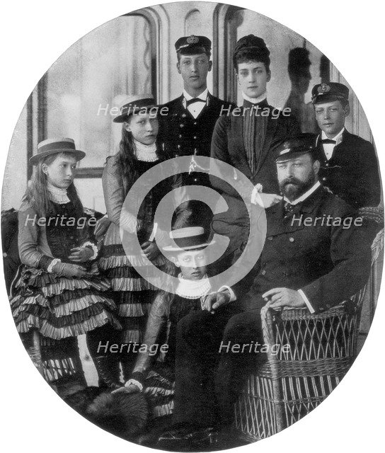 The Prince and Princess of Wales with their family on board the royal yacht, 19th century (1910). Artist: Unknown