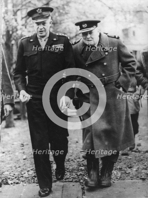 General Eisenhower and Winston Churchill in France, c1944. Artist: Unknown