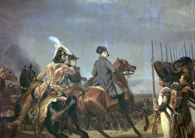 Gallery image of Painting of Napoleon at the battle of Jena, 19th century. Creator: Émile Jean-Horace Vernet.