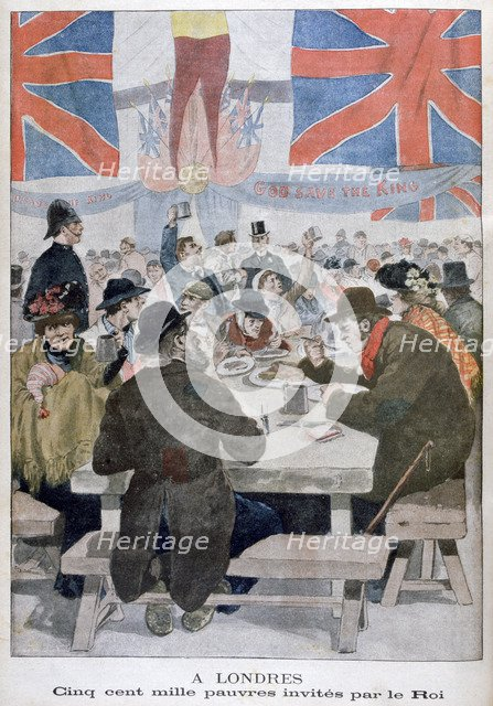 Dinner for the poor in celebration of the coronation of King Edward VII, London, 1902. Artist: Unknown