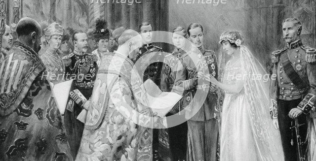 The Duke of York placing the ring on Lady Elizabeth Bowes-Lyon's finger, 26 April 1923, (1937). Artist: Unknown