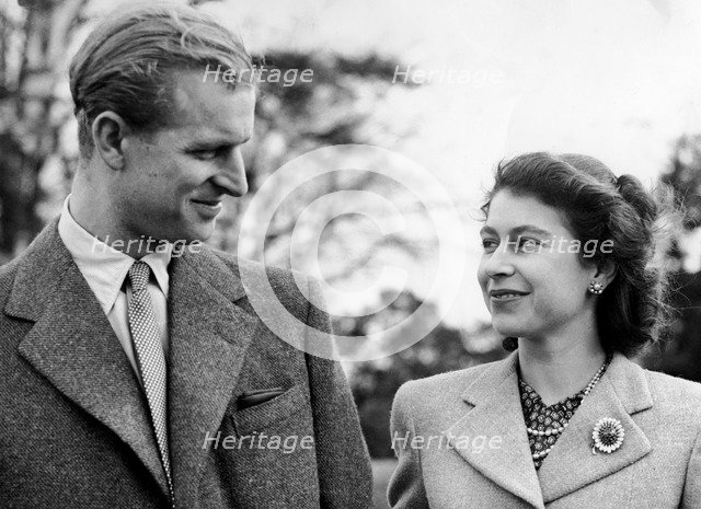 Princess Elizabeth and the Duke of Edinburgh, Broadlands, Romsey, Hampshire, 1947. Artist: Unknown