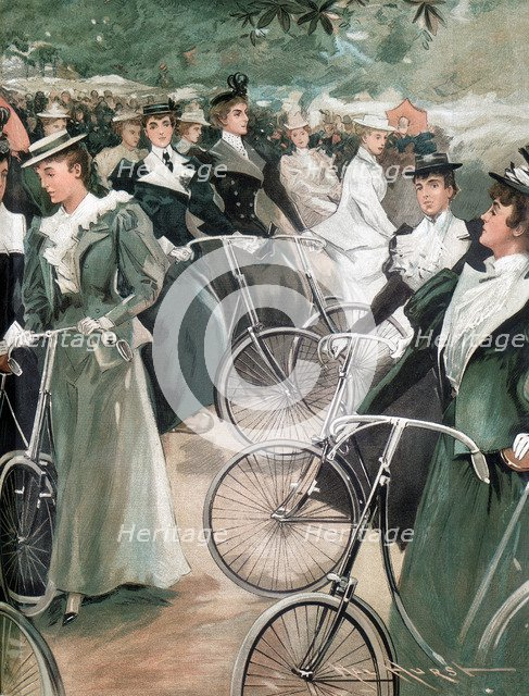 Society ladies cycling in Hyde Park, London, 1896. Artist: Unknown