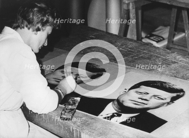 Pictures of President Kennedy being prepared to decorate the streets of Vienna, Austria, 1961. Artist: Unknown