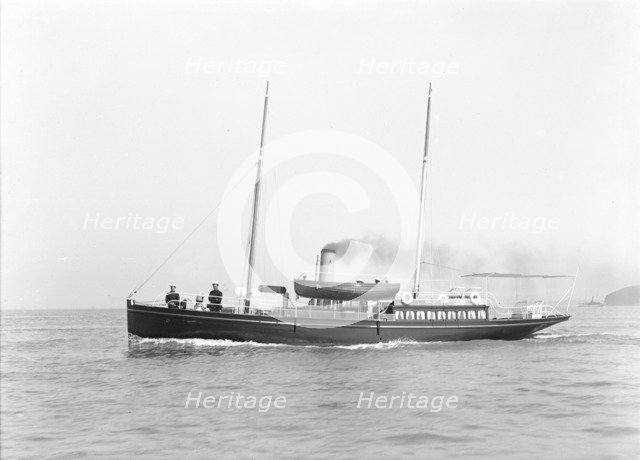 The steam yacht 'Volage' under way, 1911. Creator: Kirk & Sons of Cowes.