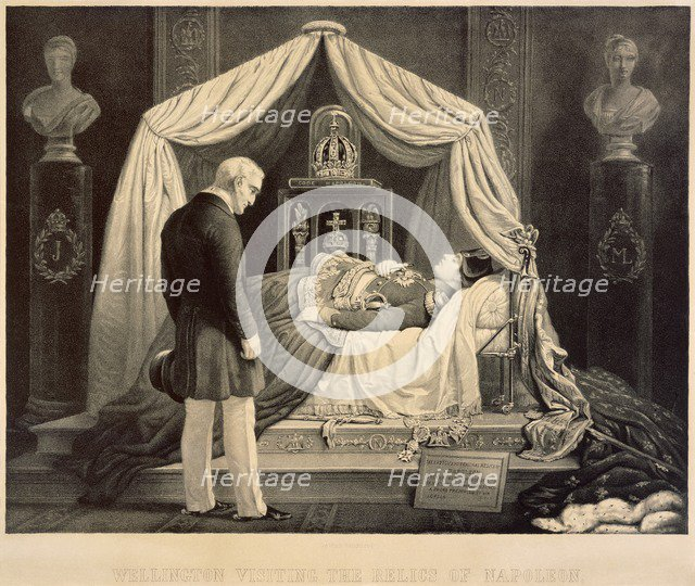 Wellington Visiting the Relics of Napoleon, 19th century. Artist: Unknown.