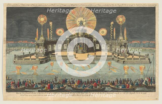 A View of ye Grand Theatre & Fireworks erected on ye Water near ye Court at ye Hague (on O..., 1794. Creator: Robert Laurie.