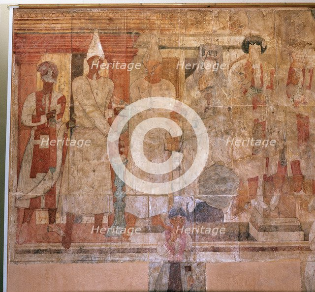 """The """"Fresco of Conon"""" from Dura Europos, a temple dedicated in AD 70 to the Palmyrene gods."""
