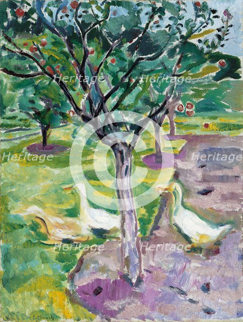 Geese in an Orchard, c. 1911. Artist: Munch, Edvard (1863-1944)