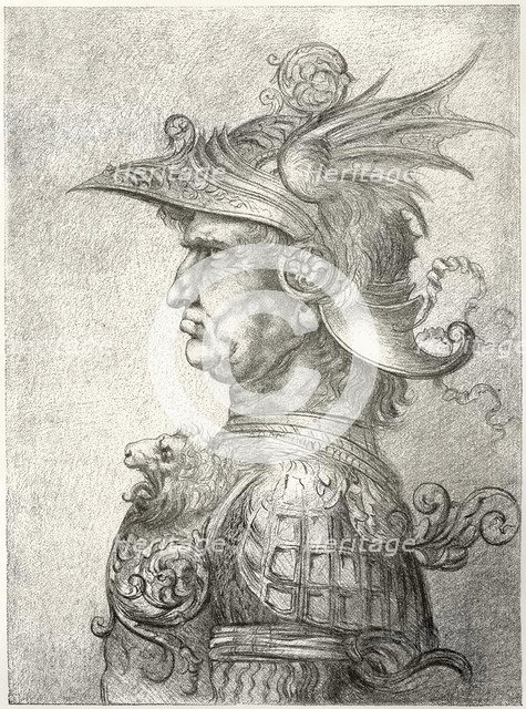 A bust of a warrior in profile, 1882. Artist: Unknown