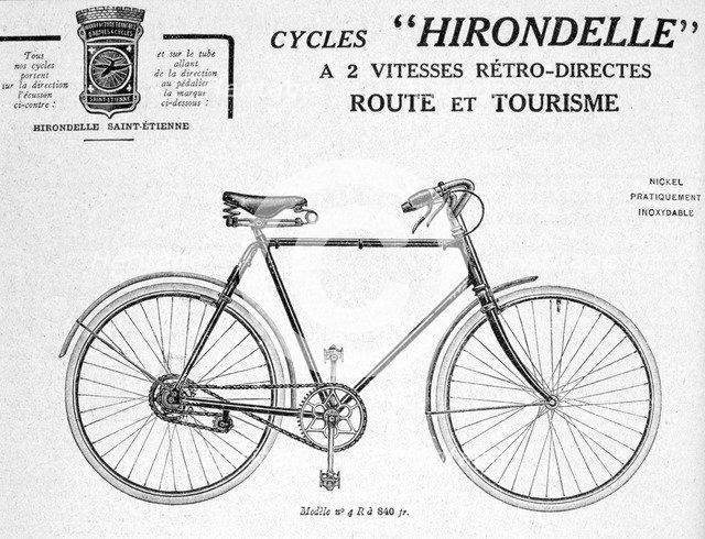Hirondelle Saint Etienne, Bicycle Tourism Advertisement, 20th century. Artist: Unknown