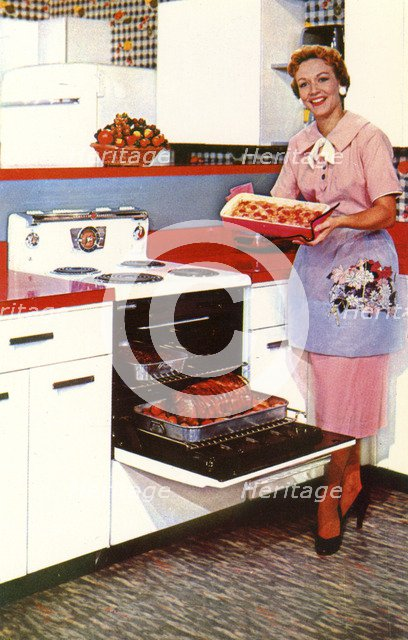 Here's General Electric's Compact Spacemaker oven, USA, 1955. Artist: Unknown