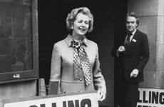 Thumbnail image of Margaret Thatcher outside a polling station, referendum day, 5th June 1975. Artist: Unknown