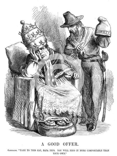 Giuseppe Garibaldi trying to persuade Pope Pius IX, 1860. Artist: John Tenniel