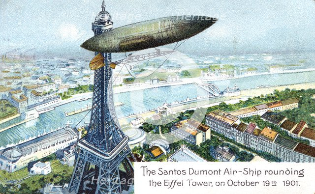 'The Santos Dumont Air-ship rounding the Eiffel Tower, on October 19th 1901', (c1910). Artist: Unknown