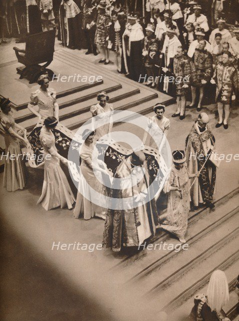 'The Coronation Ceremony in the Abbey: The Queen's Procession', 1937. Artist: Unknown.