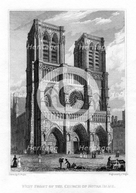 West front of the Church of Notre Dame de Paris, France, 1828. Artist: J Tingle