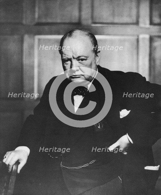 Sir Winston Churchill (1874-1965), English politician, c1950s. Artist: Unknown