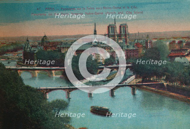 Panorama of the River Seine with Notre-Dame Cathedral and the Îsle de la Cité, Paris, c1920. Artist: Unknown.