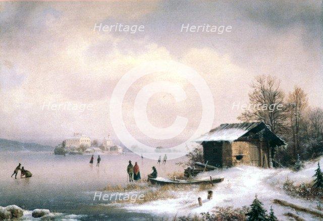 'Winter Landscape, Ljubljana', c1844-1871. Artist: Marko Pernhart