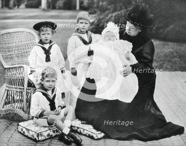Queen Victoria with her great-granchildren at Osborne House, Isle of Wight, 1900. Artist: Unknown