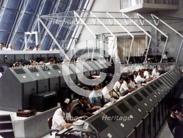Launch Control Center in the John F Kennedy Space Center, Florida, USA, July 1969.  Creator: NASA.